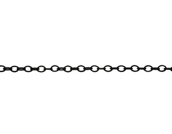 Matte Black 2x1mm Petite Cable Chain - Sold By 6 inches
