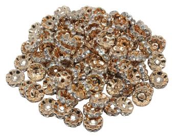 Light Gold Rhinestone 10x4mm Wavy Edge Brass Spacer Bead