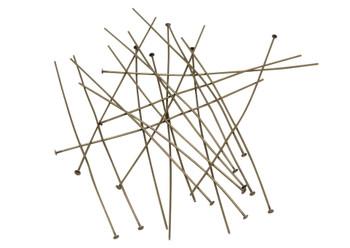 """Antique Brass 3"""" Long 21 Gauge Head Pins - 20 Pieces"""