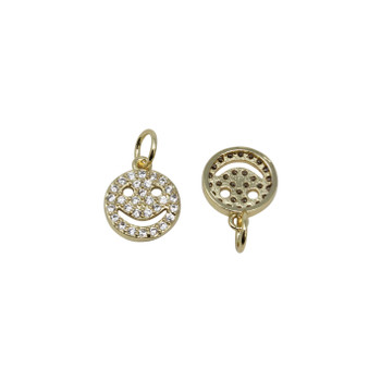 Gold Micro Pave 9mm Smiley Face Charm