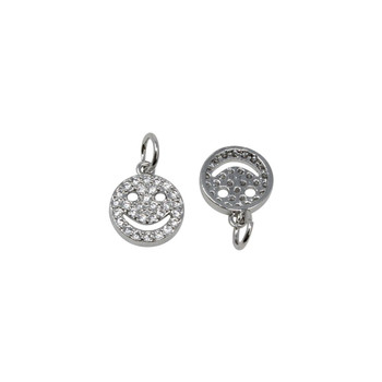 Platinum Micro Pave 9mm Smiley Face Charm