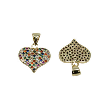Gold Micro Pave Multi Heart 13x15mm Charm