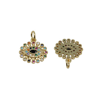 Gold Micro Pave Evil Eye Oval Disk Charm