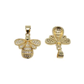 Gold Micro Pave Bee Pendant