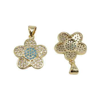Gold Micro Pave Blue Flower Pendant