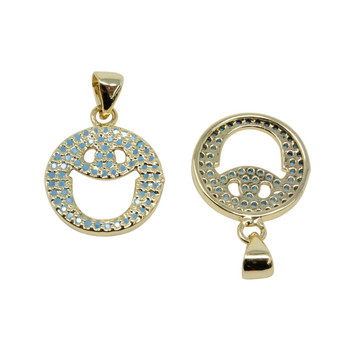 Gold Micro Pave Blue Smiley Face Pendant