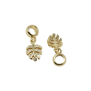 Gold Micro Pave Monstera Leaf Charm