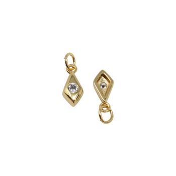 Gold Micro Pave Diamond Drop Charm