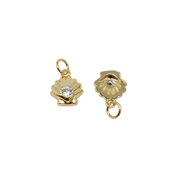 Gold Micro Pave Shell Charm