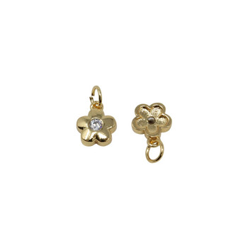 Gold Micro Pave Flower Charm