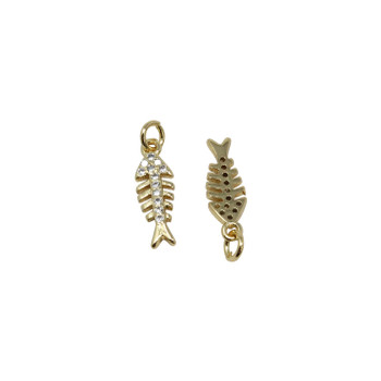 Gold Micro Pave Fish Skeleton Charm
