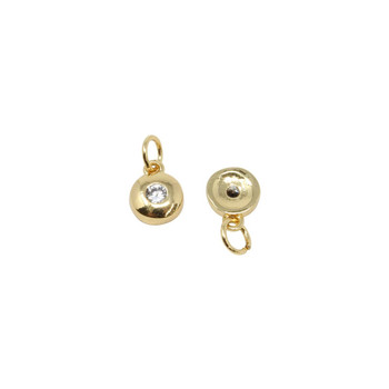 Gold Micro Pave Round Disc Charm