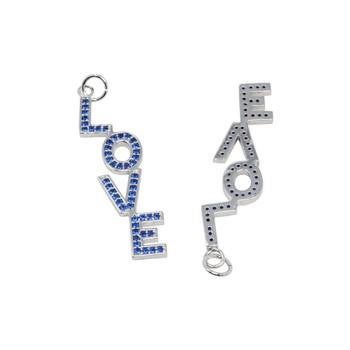 Rhodium Micro Pave Roya Blue LOVE Pendant