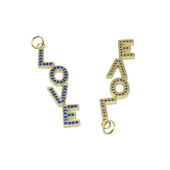 Gold Micro Pave Roya Blue LOVE Pendant