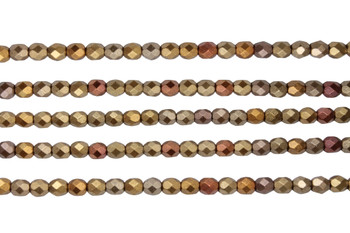 Fire Polish 4mm Faceted Round - Matte - Metallic Gold Iris