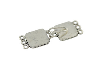 Silver 3-Hole Bali Style Square Clasp
