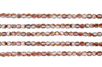 Fire Polish 4mm Faceted Round - Luster - Transparent Pink