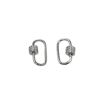 Silver Micro Pave Oval 10x15mm Carabiner