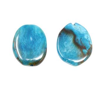 Fire Agate Dyed Blue Slab Polished 40x30mm Oval