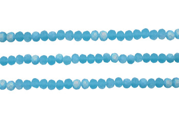 Glass Crystal Matte 4.5x6mm Faceted Rondel - Aquamarine AB