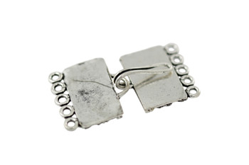 Silver 5-Hole Bali Style Rectangle Clasp