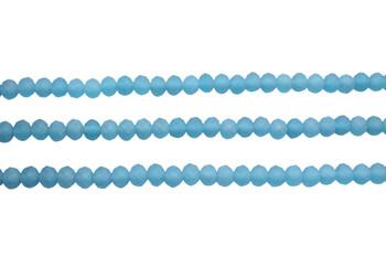 Glass Crystal Matte 4.5x5mm Faceted Rondel - Ocean Blue