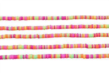 Polymer Clay 4mm Pink, Yellow, Orange, Lime Mix Disc