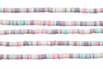 Polymer Clay 4mm Lilac, Pink, White, Mint Mix Disc