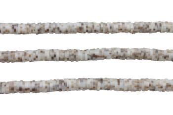 Polymer Clay 6mm Ivory / Tan Stripe Disc