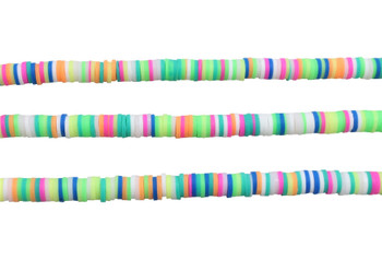Polymer Clay 6mm Green, Pink, White, Lime Mix Disc
