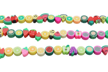 Polymer Clay 9-11mm Multi Color Fruit Shapes
