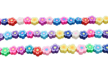 Polymer Clay 9-10mm Multi Color Flowers