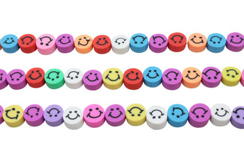 Polymer Clay 10mm Multi Color Smiley Beads