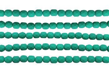 Fire Polish 6mm Faceted Round - Neon Emerald