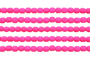 Fire Polish 6mm Faceted Round - Neon Pink