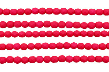 Fire Polish 6mm Faceted Round - Saturated Red