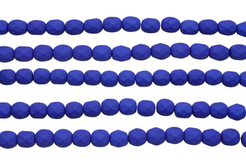 Fire Polish 6mm Faceted Round - Neon Blue