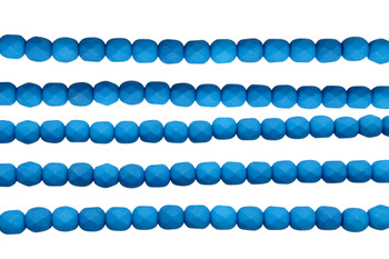 Fire Polish 6mm Faceted Round - Neon Electric Blue