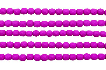 Fire Polish 6mm Faceted Round - Neon Purple