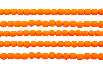 Fire Polish 6mm Faceted Round - Neon Orange