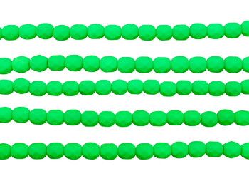 Fire Polish 6mm Faceted Round - Neon Green