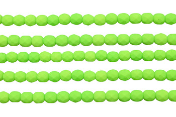 Fire Polish 6mm Faceted Round - Neon Lime