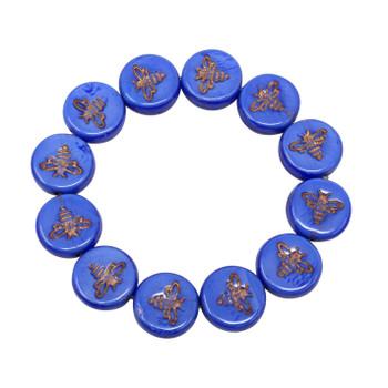Czech Glass 12mm Bee Coin - Royal Blue Bronze