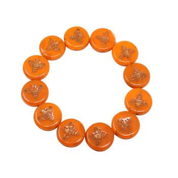 Czech Glass 12mm Bee Coin - Orange Opal Bronze