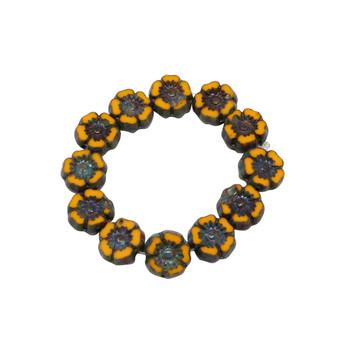 Czech Glass 7mm Hibiscus Flower Beads - Yolk Yellow Picasso