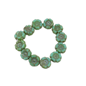 Czech Glass 7mm Hibiscus Flower Beads - Turquoise Picasso
