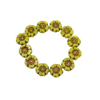 Czech Glass 7mm Hibiscus Flower Beads - Bright Yellow Bronze