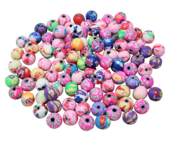 Polymer Clay 8mm Multi Color Floral Round -  Sold in Package of 100