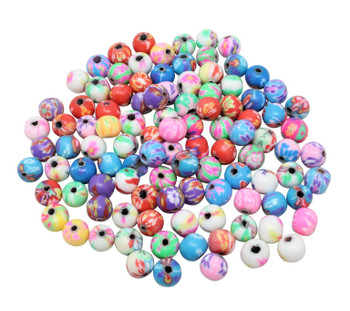 Polymer Clay 6mm Multi Color Floral Round -  Sold in Package of 100