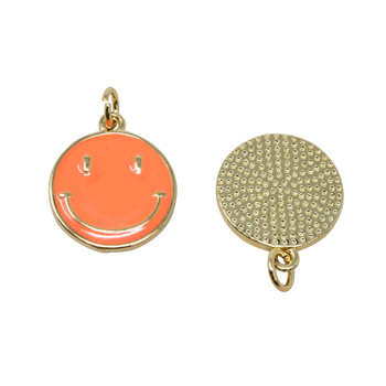 15mm Orange Enamel Smiley Pendant